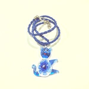 Jewelry - Glass Cat Pendant Braided Blue Necklace